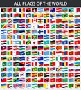 All flags of the world in alphabetical order. Waving style Royalty Free Stock Photo