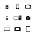 All gadgets black electronic devices icons set illustration Stock Photo