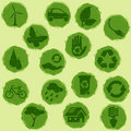 All-green grunge eco buttons Stock Photography