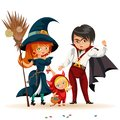 All Hallows Eve family party flat poster vector illustration. Cartoon smiling parents with daughter dressed in nice