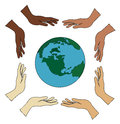 All hands holding world vector
