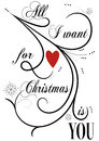 All i want for christmas is you elegant flourish card picture or gift tag design Stock Photos