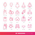 All Kinds of Wedding Marriage or Bridal Icons Set Vector.