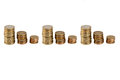 It is all about the money euro coins in stack in a row Stock Photos