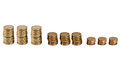 It is all about the money euro coins in stack in a row Stock Photo
