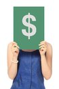 All about the money a woman in business attire holding a signboard with a dollar sign over her face Royalty Free Stock Photos
