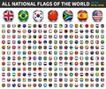 All national flags of the world . Circle metal frame with sparkle design . White isolated background . Element Vector Royalty Free Stock Photo