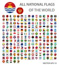 All national flags of the world set. Official world flags circle buttons, accurate colors. Royalty Free Stock Photo