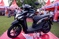 All new motorcycles matic on display at the city park in the city of solo central java indonesia Royalty Free Stock Image