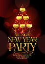 All night new year party poster with chic golden headline and golden stack of champagne glasses in form spruce decorated Royalty Free Stock Photos