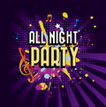 All night party over purple background vector illustration Stock Images