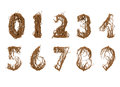 All numbers constructed from little branches zero to nine vine Royalty Free Stock Photos