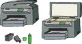 All in one printer scanner copier with ink cartridges Royalty Free Stock Images
