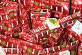 All red Christmas presents with tags Stock Image