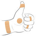 All Right Symbol Adhesive Plaster Thumbs Up Royalty Free Stock Photo
