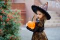 All Saints' Day. Cute little girl portrays the wicked witch. Royalty Free Stock Photo