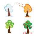 All season tree icons set Stock Photos