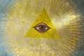 All seeing eye on the ceiling of an orthodox church in jerusalem Stock Photography