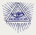 All seeing eye doodle style Royalty Free Stock Image