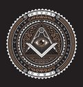 All Seeing Eye Emblem Badge Vector Logo 2 Color Royalty Free Stock Photo