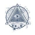 All seeing eye illustration. Tatoo, masonic symbol, Royalty Free Stock Photo