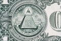 All-seeing eye. Masonic sign. Mason symbol. 1 one dollar. Royalty Free Stock Photo