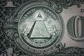 All-seeing eye on the one dollar. New world order. elite characters. 1 dollar
