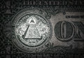 All-seeing eye on the one dollar. New world order. elite characters. 1 dollar. Royalty Free Stock Photo