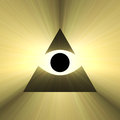 All seeing eye pyramid with light flare of providence rays of powerful white triangle religious symbol extended flares for the Royalty Free Stock Photography