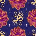 All seeing eye pyramid pattern. Hand-drawn Eye of Providence and Ohm symbol seamless illustration. Alchemy, religion, spirituality