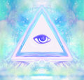 All seeing eye raster illustration Stock Photo