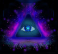 All seeing eye raster illustration Royalty Free Stock Image