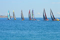 All Seven yacht Racing Teams In The 2014 - 2015 Volvo Ocean Race Royalty Free Stock Photo