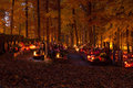 All souls day at cemetery in the night Royalty Free Stock Photo