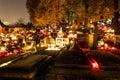 All souls day november in banska bystrica slovakia night photo on cemetery Royalty Free Stock Photography