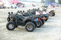 All terrain vehicles vhicles parking at shuangyuewan harbor beach in china tourists s rent these for fun on september Royalty Free Stock Photography