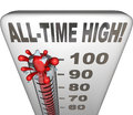 All time high record breaker thermometer hot heat score words on a illustrating increasing or to be the highest on Royalty Free Stock Photos