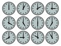 All the time in the world illustration of clocks showing hourly times Royalty Free Stock Image