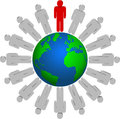 All together and leader with his team conquered the planet earth Royalty Free Stock Photography