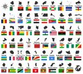 All vector high detailed maps and flags of African countries arranged in alphabetical order Royalty Free Stock Photo