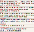 Vector set of all world flags arranged in alphabetical order and singled out by continents Royalty Free Stock Photo