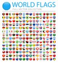 All World Flags - New Additional List of Countries and Territories - Vector Round Glossy Icons
