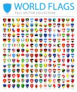 All World Flags - New Additional List of Countries and Territories - Vector Shield Flat Icons