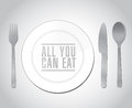 All you can eat plate restaurant illustration design over a white background Royalty Free Stock Image