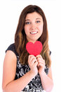 All you need is love closeup of young woman in dress holding red heart Royalty Free Stock Photo