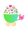 All you need is love. Cute greeting card with cup, hearts and birds. Royalty Free Stock Photo