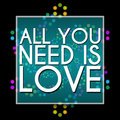All you need is love dark colorful neon text written over background Royalty Free Stock Photos