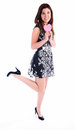 All you need is love full length of young woman in dress holding pink heart Royalty Free Stock Photography