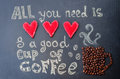 All you need is love and a good cup of coffee with coffee beans on the chalkboard toning selective focus Royalty Free Stock Images