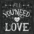 'All you need is love' hand-lettering for print, card Royalty Free Stock Photo